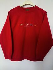 United Colours Of Benetton Size Large Vintage Crew Neck Sweatshirt Pullover Red