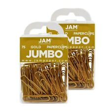 Jam Paper Colored Jumbo Paper Clips Large 2 Inch Gold Paperclips 21832060a
