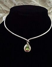 Sterling Silver & 18k Gold  Cuff Necklace with Peridot Center