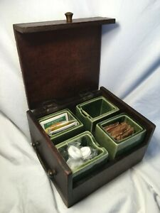 Vintage Wooden Tea Caddy w/4 Ceramic Compartment Inserts