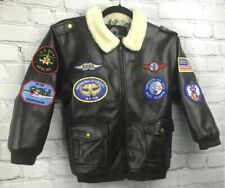 Vtg Style Faux Leather Boys Sz 7 Military Bomber Pilot Jacket Halloween Costume