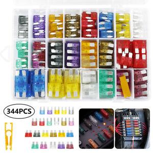 344pcs Assorted Car Fuse Mini Blade Fuses Set Auto Truck Assortment Kits ATM APM