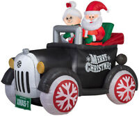CHRISTMAS SANTA ANTIQUE CAR MS CLAUS 5.5 FT  INFLATABLE AIRBLOWN GEMMY