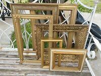 Vintage antique Lot Gold Ornate PICTURE FRAME Recycle Art Craft Deco Estate Sale