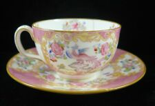 Antique Minton Pink Cockatrice Tea cup and Saucer * Hairlines