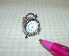 Miniature Shiny SILVER Alarm Clock, High Detail!: DOLLHOUSE 1:12 Scale
