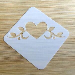 Face paint stencil reusable washable romantic heart flourish  Mylar 4.5 x 4.5 cm