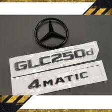 MERCEDES BENZ C253 X253 GLOSS BLACK SET REAR GLC250d 4MATIC&STAR BADGES EMBLEMS