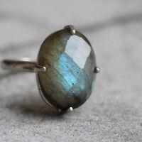 Labradorite Gemstone 925 Sterling Silver Prong Set Handmade Gift Ring Size 8