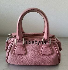 Chanel LAX small tote bag pink calfskin with silver hardware