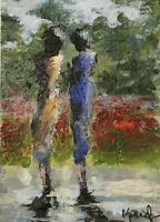 """Original ACEO ATC Painting Art Trading Card """"In The Park I"""" Figures Garden Women"""