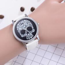 Women Luxury Fashion Skull Dial Watch Leather Band Quartz Round Wrist Watches