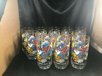 Lot of 12 Hardee's Clumsy Smurf Drinking Glasses 1983 PEYO Wallace Berrie