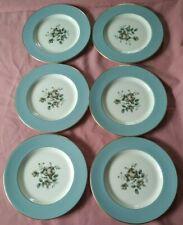 """6 Royal Doulton China Rose 8"""" Salad Plates TC1010"""