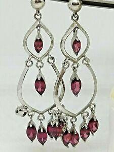 Handmade Oxidized fine silver Winterberry Earrings Wire wrapped Rhodolite Garnet
