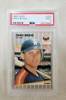 1989 Fleer Craig Biggio HOF Rookie Card RC #353 Graded PSA 9 MINT Baseball Card
