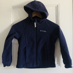 Columbia Boys Fleece Jacket Hooded Full Zip Navy Size 6/6X EUC