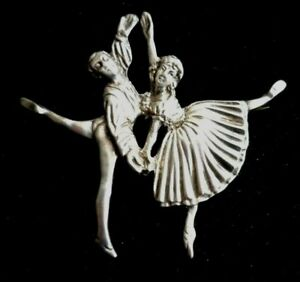 Hallmarked 1948 Silver Male & Female Ballet Dancers Brooch By D H Phillips