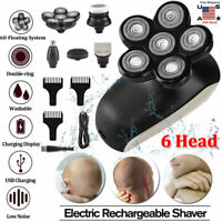 Recharge 6 Head Floating Men Electric Shaver Beard Hair Trimmer Bald Clipper LED