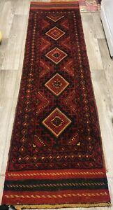 Vintage Handmade tribal Afghan Baluchi rug runner, Nomad Runner rug, 2'2 x 8'2