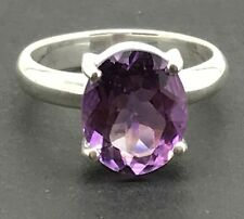 Amethyst Ring Oval Solid Sterling Silver UK Size M 1/2 Actual One. Good Colour!