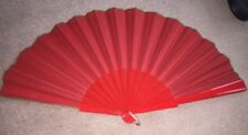 Beautiful Red Fabric Wood Hand Fan Folds Vintage