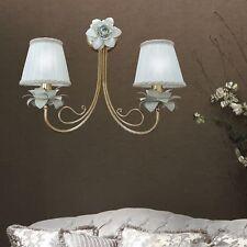Applique parete lampada ferro battuto artigianale 2 luci bocciolo e rosa