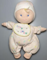 "Eden Tiny Baby DOLL Plush Stuffed Soft Toy Pink White Cloth Hat Bib 10"""