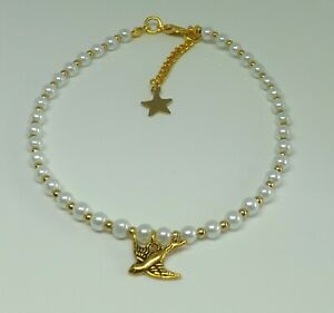 Glass Pearl Beaded Anklet Bohemian Swallow Bird Charm Beach Anklet Gold Tones