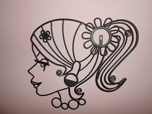 Silouette metal wall decor lady face