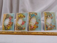Lot of 4 Victorian Easter Trade Cards Children Playing Giant Eggs Mandolin F43