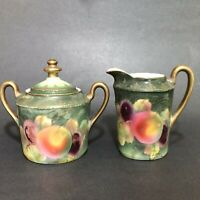 Prussia Beyer Bock Porcelain Sugar Bowl Creamer Hand Painted Fruit Gold Trim