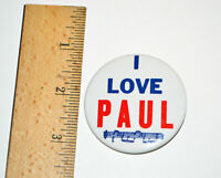 "1964 Beatles 2"" Inch Pin Back Button I LOVE PAUL Made In USA Memorabilia"
