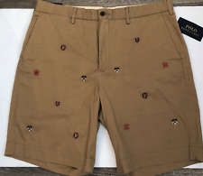Polo Ralph Lauren Men 31 NWT Varsity Crest Shorts Tan Chino Cotton Classic NEW