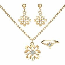 Promotion Jewelry Set Daisy Flower 18K Gold gp Crystal Necklace Earrings Ring