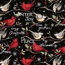 Christmas Fabric - Winter Birds Susan Winget Peace Joy - Springs YARD