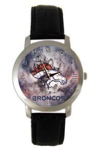 NFL Denver Broncos Men's Classy Black Leather Band Watch  Style #X UNISEX