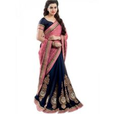 Indian Bollywood Designer Saree With Designer Fancy Embroidery Work  1018