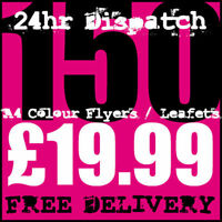 150 A4 Full Colour Digital Printed Flyers / Leaflets High Quality 24hr Dispatch