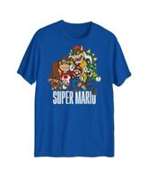 Super Mario Mens T-Shirts Blue Size 2XL Crewneck Characters Graphic Tee 121