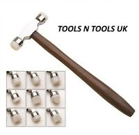 Jeweller's Dark Planishing Nylon Head Face Hammer Jewellery REPOUSSE With 9 Tips