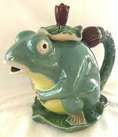 Frog on Lily Pad Teapot Pitcher Majolica Stoneware Pottery Tea Pot