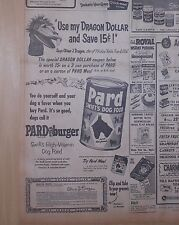 1954 newspaper ad for Pard Dog Food - Ollie of Kukla Fran Ollie, Dragon Dollar