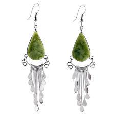 "#4103 Serpentine Peruvian Earrings Stone Drop Artisan Alpaca Silver 2"" Dangles"
