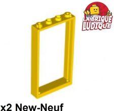 Lego - 2x Door Porte 1x4x6 frame cadre type2 jaune/yellow 60596 NEUF