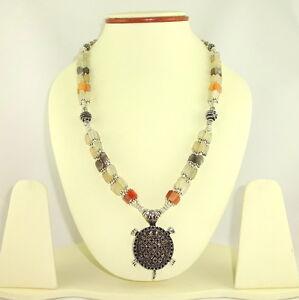 Pendant necklace natural multi moonstone gemstone beaded handmade jewelry