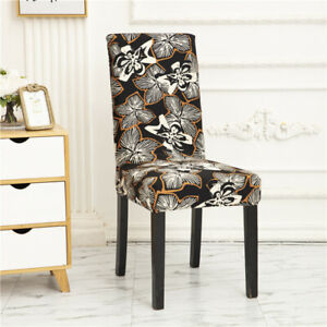 Stretch Print Chair Covers for Dining Room Spandex Wedding Banquet Party 4/6pcs