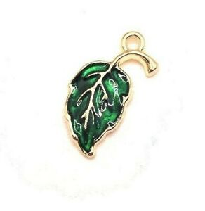 4, 20 or 50 BULK pcs Green and Gold Leaf Charms - US Seller - GR1034