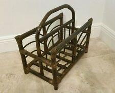 VTG MCM Bamboo Rattan Wicker Magazine Rack FRANCO ALBINI Style Dark Brown