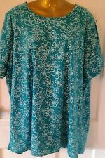 Beautiful Top by Designer  Blair Womens Size 2X  Summer Floral Turquoise Comfy